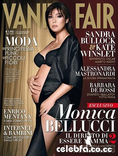 عکس های لخت مونیکا بلوچی در ششمین ماه حاملگی در مجله ونتی فیر ایتالیا